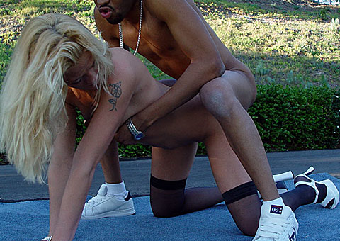 Hot Blonde Dylan Lee in an open air interracial act on blacks on blondes blog