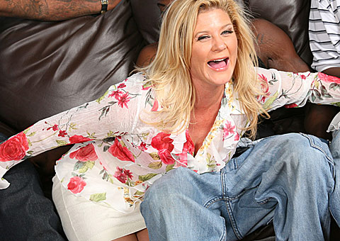 Blonde Milf Ginger Lynn in a hard interracial gangbang on blacks on blondes blog