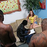 busty and hairy babe gets gangbanged by four hung blacks from Blacks on Blondes