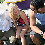 petite blonde teen gets picked up and shared by two blacks from Blacks on Blondes